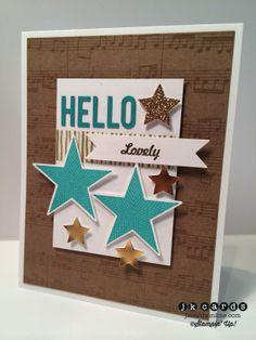 Stampin' Up!, Catherine  Cathy Create 31, Hello, Lovely, Simply Stars, Natural Composition DSP, Gold Foil Sheet, Champagne Glimmer Paper, Bitty Banners Framelits, Circle Card Thinlits, Merry Minis Punch Pack, Watercolor Wonder Designer Washi Tape, Gold Stampin' Emboss Powder