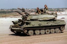 Soviet-made ZSU-23-4 at Camp Pendleton. Marines from the 1st Marine Division 3rd Amphibious Armored Vehicle Battalion add realism to Exercise Kernel Blitz 97 by driving former Soviet bloc armored vehicles at Camp Pendleton Calif. on June 21 1997 [2.030px  1.348px]