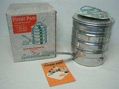 "VINTAGE 1959 THE BUCKEYE ALUMINUM CO WOOSTER OHIO STACKING ""PICNIC PACK"" MIB!"