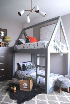 We all know how difficult it is to decorate a kids bedroom. A special place for any type of kid, this Shop The Look will get you all the kid's bedroom decor ide Bunk Beds For Boys Room, Cool Bunk Beds, Kid Beds, Girl Room, Girls Bedroom, Bedroom Ideas, Bed Ideas, Bedroom Decor, Boy Bedrooms
