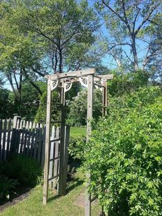 Enhance a garden entrance with a trellis. Carl G. shared this unique trellis on @hometalk. He built it out of an old wood ladder. The only new parts were the screws, nails, and decorative spindle brackets.