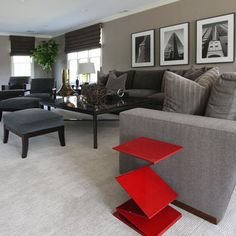 Grey and Red Living Room. LOVE! | For The Home | Pinterest
