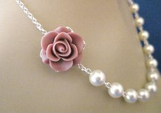 Mauve Rose and Cream Pearl Wedding Necklace