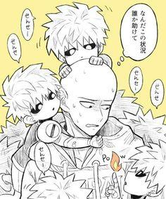 Saitama, mini Genos', text, cute, chibi; One Punch Man