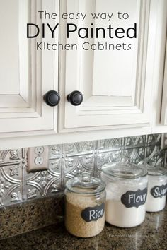 DIY Painted Kitchen Cabinets tutorial :: NO prep, no sanding, no priming. Yes please! Plus the easiest backsplash to install and maintain. Awesome Kitchen makeover.
