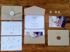 Vintage Wedding // Handdrawn// Pocketfold Invitation //Craftpaper // DIY