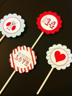 DIY Valentine Crafts | Owl Valentine DIY Printabale Cupcake Toppers | Valentines Day/Crafts