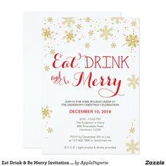 Eat Drink & Be Merry Invitation / Christmas invite