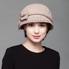 Womens large bow beret hat for winter fashion wool hats