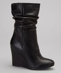 Take a look at this Black Twist Wedge Boot on zulily today!