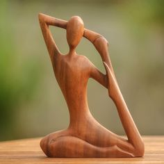 Shop for Yoga Stretch Elegant Meditation and Relaxation Unique Hand Carved Brown Suar Wood Decorator Art Work Sculpture (Indonesia). Get free delivery On EVERYTHING* Overstock - Your Online Home Decor Outlet Store! Woodworking Art Ideas, Sculpture Metal, Yoga Benefits, Wooden Art, Whittling, Best Yoga, Wood Carving, Hand Carved, Carved Wood