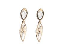 gold plated white crystal earring