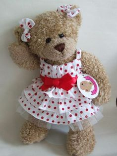 Teddy Bear Clothes Red Polka Dot Dress & Bows / Build Your Bears Wardrobe Teddy Clothing, Teddy Bear Clothes, Bear Clothing, Red Polka Dot Dress, Polka Dots, Build A Bear Clothes Pattern, Build A Bear Outfits, Sewing Toys, Sewing Crafts