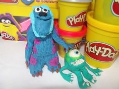 How to make Mike Wazowski and James P Sullivan with Play Doh