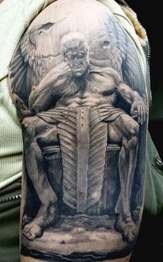 Realism Devil Tattoo by Erich Rabel - http://worldtattoosgallery.com/realism-devil-tattoo-by-erich-rabel/