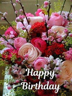 Best Ideas For Birthday Flowers Arrangements Happy Happy Birthday Messages, Happy Birthday Images, Birthday Greetings, Happy Birthday Flower, Birthday Cake With Flowers, Birthday Party Snacks, Birthday Party Decorations, Wedding Decorations, Floral Arrangements