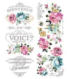 Rub On Transfers For Furniture Furniture Decals ReDesign Rub On Transfers, Light Blue Flowers, Colorful Flowers, Paint Companies, Flower Wall Decals, Dixie Belle Paint, Shabby Chic Farmhouse, All Things New, Fuchsia