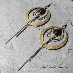 Bijou créateur - boucles d'oreilles bronze ethniques intercalaires créoles antiques pampilles chaînes breloques sequins émaillés noir