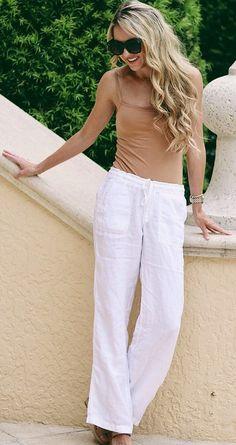 #spring #outfits Tan Tank & White Pants
