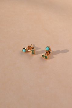 Merewif Outsider Earrings   Turquoise & Emerald