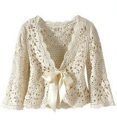 crocheted cropped swing jacket with bow tie detail.  SO cute!