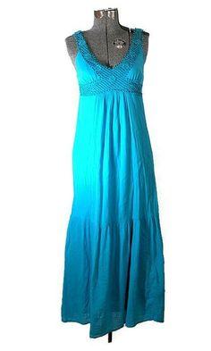 Blue Bayou Retro 1970 Hippie Cotton Sun Dress #longdress #sundress #oldnavy