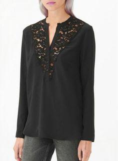 Black Lace Front Tunic Blouse