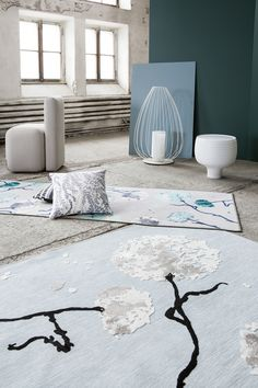 Softy and Softis rug by Matleena Issakainen, Varvikko cushion by Tanja Orsjoki Close To Home, Japanese Culture, Home Collections, Earthy, Cushions, Kids Rugs, Colours, Wallpaper, Inspiration