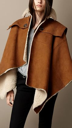 Burberry Shearling Poncho Cape