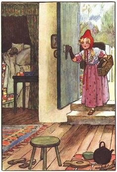 """Little Red Riding Hood"" illustration by Millicent Sowerby. Red Ridding Hood, Wolf, Red Hood, Children's Book Illustration, Little Red, Illustrators, Fairy Tales, Images, Wonderland"
