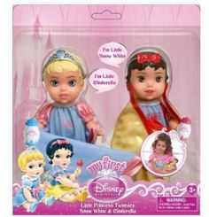 """Disney Princess Twin Dolls with Blankets, Cinderella/Snow White - 6"""" Tall by Jakks. $21.69. Swaddle and milk bottles in their signature colors. Suitable for ages 3+. Accessories will fit other 6"""" Disney Princess dolls. Double the magic, double the fun with two beautiful baby princesses! These sweet little bundles of love want you to swaddle, feed and cuddle them closely wherever you go."""