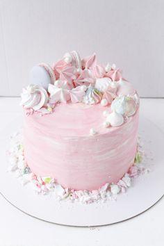 Birthday cake blush, pearls, macaroni