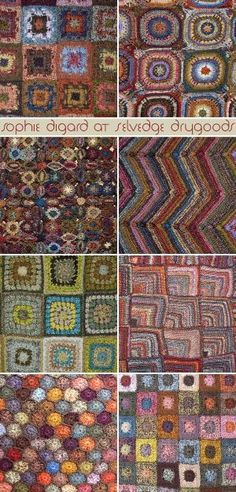 Crochet Granny Squares Design Sophie Digard crochet at Selvedge--love everything she does! Crochet Motifs, Granny Square Crochet Pattern, Freeform Crochet, Crochet Art, Crochet Squares, Crochet Granny, Crochet Stitches, Crochet Patterns, Granny Squares