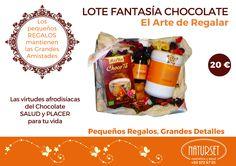 Lote Fantasía-ChocolateLas virtudes afrodisíacas del Chocolate aunadas a una cosmética NATURAL responsable harán las delicias de tu vida aportándote SALUD al mismo tiempo que PLACER y DISFRUTE. En NATURSET ayudamos a CUIDARTE.