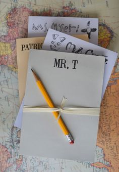 Personalized Notepads for Teacher - I would love to do this for the kids' friends too.  How fun!!