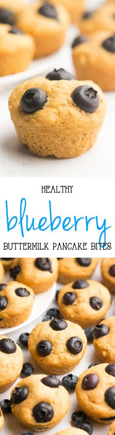 Healthy Blueberry Buttermilk Pancake Bites -- only 29 calories! No more standing at the stove... You BAKE this pancake batter instead! This kid-friendly recipe is perfect for quick, easy breakfasts & meal prepping!