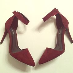Amazing Burgundy Heels New never worn these burgundy heels are a must have! Velcro straps around ankles. Size 8.5. Seude fabric. 3rd pic shows truest color Call It Spring Shoes Heels