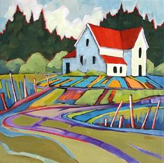 Countryman Road, contemporary landscape painting, painting by artist Carolee Clark