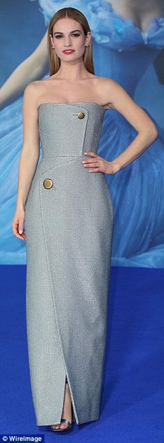 Dazzling: The 25-year-old actress wore a beautiful bandeau silver gown which featured a th...
