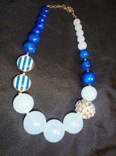 Vintage Necklace Blue Lucite Multi Bead w/ Large Faux Rhinestone #Unbranded #LargeBeadedStrandNecklaceMultiBlueFaux