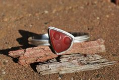 SALE Red Seaglass Sterling Silver Bangle by kathyarterburn on Etsy, $96.00
