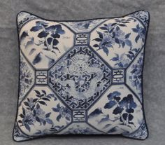Pillow made w Ralph Lauren Palm Harbor Octagonal Blue & White Cotton Fabric 16""