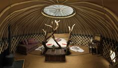 Handcrafted chestnut yurt built by Guy Mallinson near West Dorset, England.
