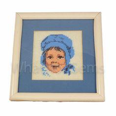 Little Girl Blue Framed Needlepoint Baby Bonnet by WhatnotGems