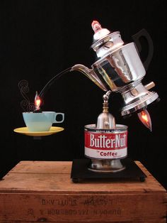 Upcycled Vintage Coffee Percolator Lamp by BenclifDesigns on Etsy,