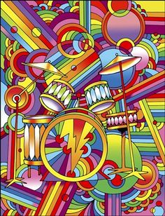 Giclee Print: Pop Art Drums by Howie Green : Pop Art Vector, Drums Wallpaper, Richard Hamilton, Psy Art, Hippie Art, Maquillage Halloween, Psychedelic Art, Stretched Canvas Prints, Colors