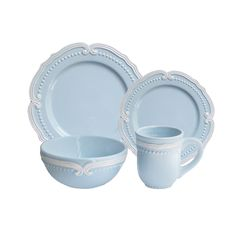 American Atelier Victoria Blue/Pink Earthenware 16-piece Dinnerware Set (Victoria Blue 16 Piece Dinnerware Set)