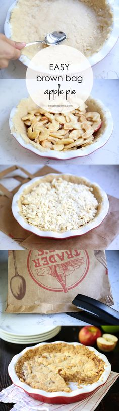 Easy brown bag apple pie on iheartnaptime.com – the most delicious crumb top apple pie that is perfect for beginner pie makers! The brown bag helps seal in all the delicious flavors.