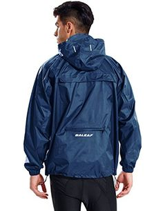 BALEAF Mens Rain Jacket Waterproof with Hooded Lightweight Packable Cycling Pullover Running Raincoat Poncho Windbreaker