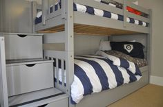 solid wood gray bunk bed with stairs